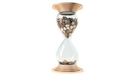 tempo : hourglass with golden sand dollars instead of rotate. White background. Isolate. Loop. 1080 full HD. Vídeos