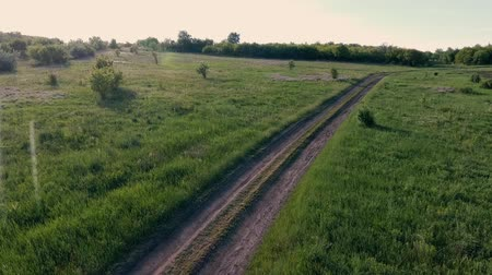flight over a dirt road in a meadow. Spring season outside the city. Ukraine. Europe. Wideo