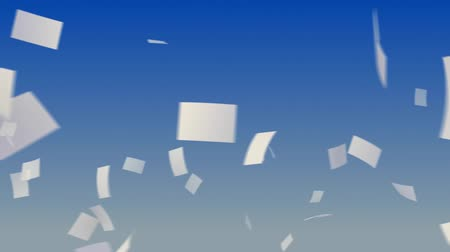 бумага : Flying papers on sky background. Progressive looping CG Animation. Стоковые видеозаписи