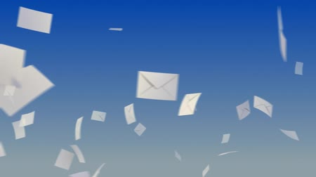 timbrado : Flying envelopes on sky background. Progressive looping CG Animation. Stock Footage