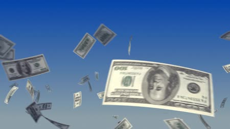 ипотека : Flying US Dollar notes on sky background. Progressive looping CG animation.