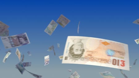 adósság : Flying British Pound notes on sky background. Progressive looping CG animation.