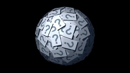 perguntando : Huge ball made of papers with question mark. Looping CG Animation.