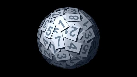 esferas : Huge ball made of papers with numbers. Looping CG Animation.