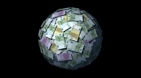 wyprzedaż : Spinning globe made of Euro notes. Looping CG Animation.