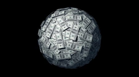 orbe : Spinning globe made of Dollars. Looping progressive cg Animation.