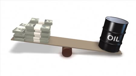 com escamas : Oil barrel and Dollar bills on seesaw.