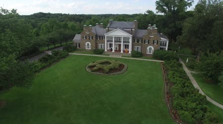 prominent : Glenview Historic Neo-Classical Revival Style Mansion Lift Off Aerial Stock Footage