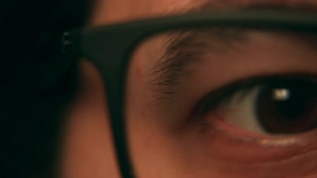 sighted : Eye Closeup with Glasses Tracking Shot - Left to Right Stock Footage