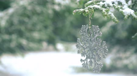 önemsiz şey : Christmas decoration snowflake hanging on snowy fir tree 4K Stok Video