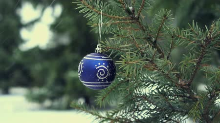 Blue Christmas Ball op de Fir Branch, slow-motion HD