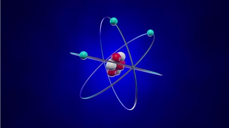 atomový : The structure of the atom: the nucleus (neurons and protons) and electrons that orbit around the nucleus. The video clip is made in Cinema 4D (render in 16bit Tiff-sequence). Finishing in After Effects.