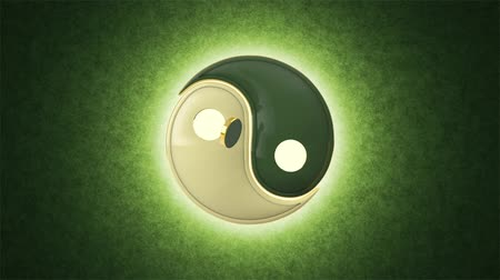 daoism : Energy balance. Mutual penetration. Yin Yang (a mutual addition of two opposites). Eastern medicine, culture and philosophy. Acupuncture (Su Jok). Artistic green background. Available in high quality, your project. Seamless Looping. Cyclical 3D animation. Stock Footage