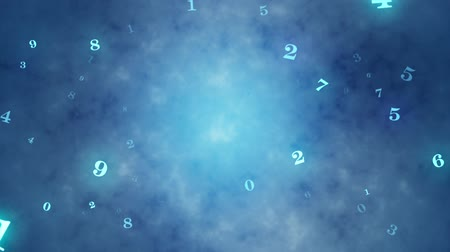 aritmética : The beginning of time. Temporary space. Numerology (secret knowledge about the numbers). Intro template. Video screensaver. Artistic dark blue background. Seamless Looping, cyclical 3D animation. Available in high-resolution and several sizes to fit the n