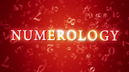 aritmética : Numerology (secret knowledge about the numbers). Video screensaver with text. Artistic dark orange background. 3D animation. Available in high-resolution and several sizes to fit the needs of your project.