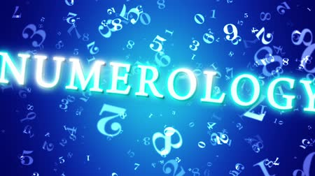 aritmética : Numerology (secret knowledge about the numbers). Video screensaver with text. Artistic dark blue background. 3D animation. Available in high-resolution and several sizes to fit the needs of your project. Vídeos