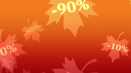 высокое разрешение : Greater autumn discounts (dumping,%, percentages, purchase, sale). Shining and blinking golden numbers on a maple leaves. Artistic orange background. 3D animation. Available in high-resolution and several sizes to fit the needs of your project.
