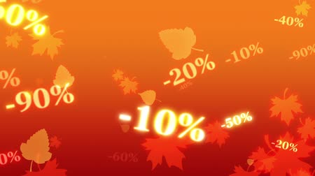 screen saver : Greater autumn discounts (dumping,%, percentages, purchase, sale). Shining and blinking golden numbers on a maple leaves. Artistic orange background. 3D animation. Available in high-resolution and several sizes to fit the needs of your project.