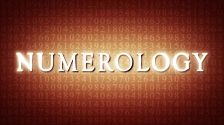 aritmética : Numerology (ancient science of numbers). Intro template. Video screensaver with text. Artistic dark orange background. 3D animation. Available in high-resolution and several sizes to fit the needs of your project. Vídeos