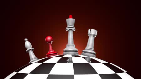 стабильность : Political Struggle. Creation of a political coalition. Metaphor. The movement of chess pieces on a chess globe. Chess unites around the king. 3D animation.