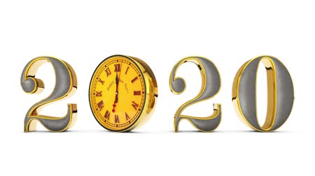 hurry up : Happy New Year 2020 ... The Clock, midnight ... Gold figures rotate around its axis, changing the date of time. Magic golden number on a white background ... Alpha channel is included. 3D animation. Available in high-resolution and several sizes to fit th