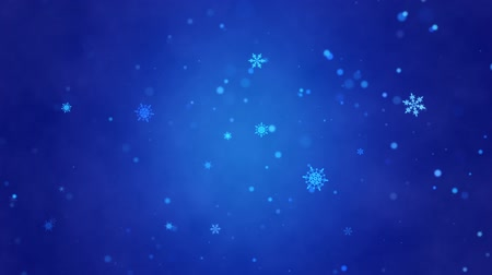 悪 : Snow falls and decorative snowflakes. Winter, Christmas, New Year. Dark blue artistic background. 3D animation. Quick Time, h264, 16-bit color, highest quality. Smooth gradation of color, without band