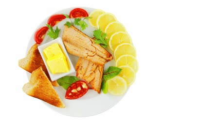 placas : roast salmon and butter with tomatoes and lemon Vídeos