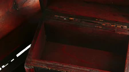 hoard : two open wooden chests with metal ornament Stock Footage