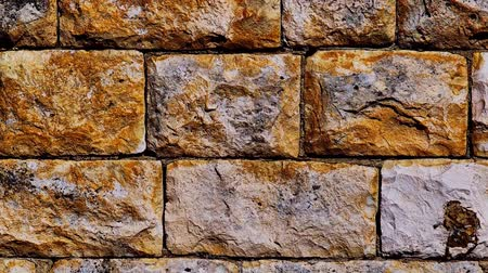 sıva : vintage old style aged cracked stone wall hidef slow motion intro Stok Video
