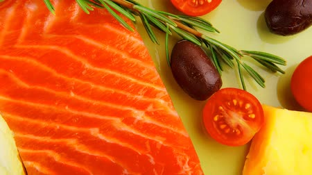 freshness background : smoked salmon fillet isolated on plate with rosemary