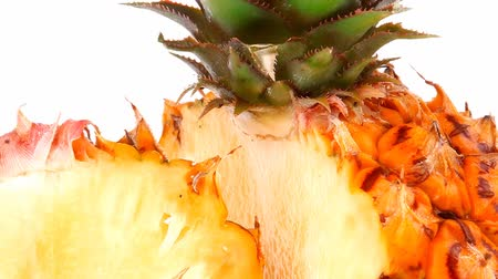 ananász : exotic fruit - fresh raw pineapple whole and half isolated over white background