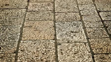 cement floor : old style aged cracked vintage stone wall as background Stock Footage