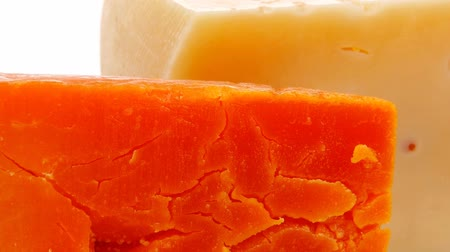 soft cheeses : french delicatessen aged cheeses chops served plate 1920x1080 intro motion slow hidef hd Stock Footage