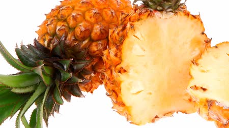 ananász : exotic fruit - fresh raw pineapple whole and half 1920x1080 intro motion slow hidef hd