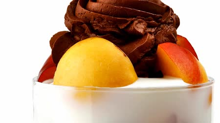 gelado : chocolate ice cream with fruits in crystal bowl 1920x1080 intro motion slow hidef hd