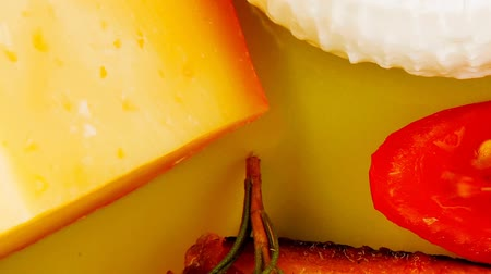 soft cheeses : cheeses and salmon on wood 1920x1080 intro motion slow hidef hd