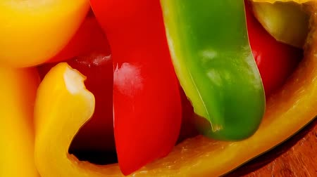 olive colored : peppers and sour cream over wooden tables 1920x1080 intro motion slow hidef hd Stock Footage