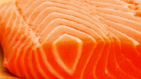 carne : raw salmon fish piece on wooden tray 1920x1080 intro motion slow hidef hd