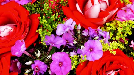 maceška : flowers : big bouquet of rose and pansy flowers with green grass in red wrapping papper 1920x1080 intro motion slow hidef hd