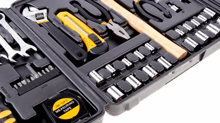 toolbox : toolbox set of tools include hammer wrench bit driver pliers hex key bush level hex key 1920x1080 intro motion slow hidef hd
