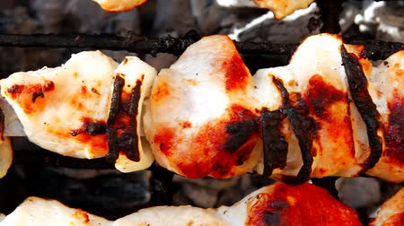 shish kebab : grilled and raw chicken shish kebab cooked on barbecue appliance 1920x1080 intro motion slow hidef hd Stock Footage