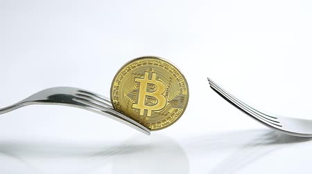 příloha : Slide zoom in focus shot of Bitcoin fork concept on the white background with reflection