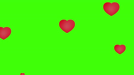 Love Hearts Flat style. Green Screen 4K. Valentines Day Love Love.
