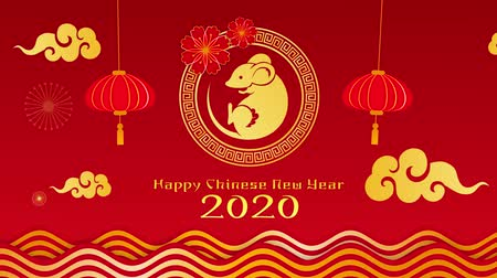 kalendarz : Happy chinese new Year 2020, Year of the rat, on red background. Motion graphic video 4K.