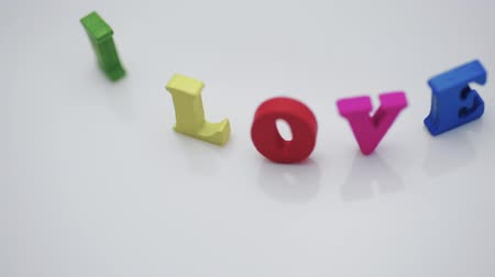 hóquei : I love you, there are colorful letters on the table. Valentines day, romance and love.