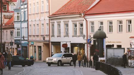 Литва : Vilnius, Lithuania. View Of Pilies Street Of Old Town In Autumn Day.