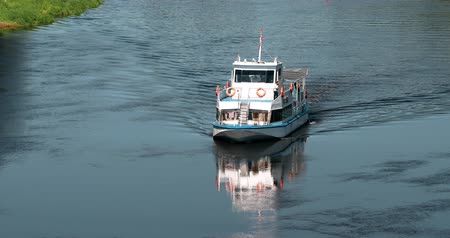motorbot : Vitebsk, Belarus. Floating Tourist Boat Cruise Ship On Dvina River At Summer Sunny Day
