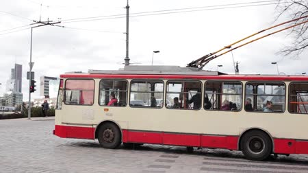 seventeen : Vilnius, Lithuania. City Trolleybus Riding On Route Number Seventeen To Zirmunai District.
