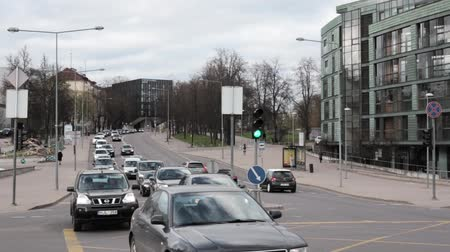 Литва : Vilnius, Lithuania. Traffic On Olympians Street In Spring Day