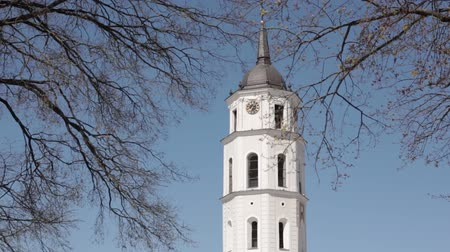 bell tower : Vilnius, Lithuania. Cathedral Square Near Cathedral Basilica Of St. Stanislaus And St. Vladislav With The Bell Tower In Spring Day Stock Footage